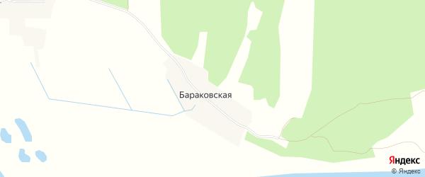 Карта Бараковской деревни в Архангельской области с улицами и номерами домов