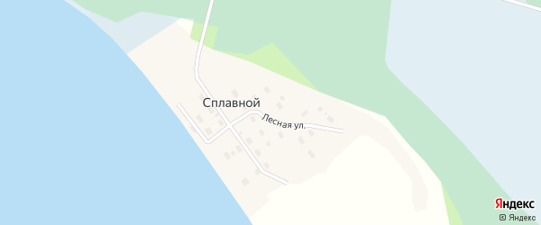 Набережная улица на карте Сплавного поселка с номерами домов