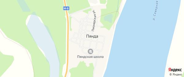 Карта поселка Пянды в Архангельской области с улицами и номерами домов