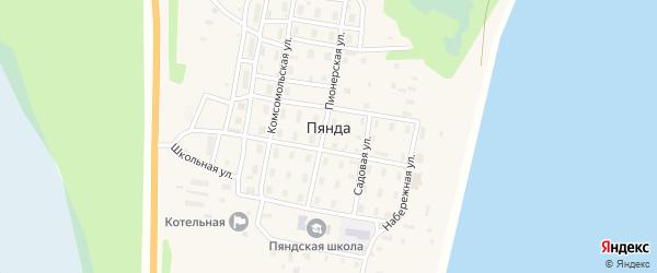 Магистральный переулок на карте поселка Пянды с номерами домов