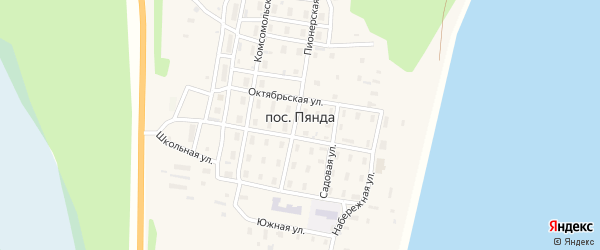 Октябрьская улица на карте поселка Пянды с номерами домов