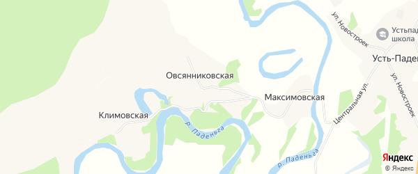 Карта Овсянниковской деревни в Архангельской области с улицами и номерами домов