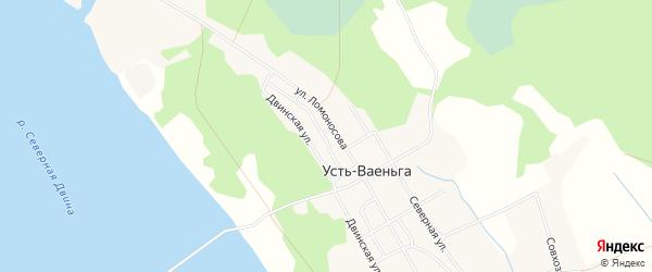 Карта поселка Усть-Ваеньги в Архангельской области с улицами и номерами домов