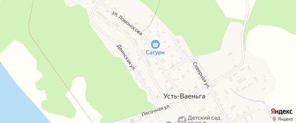 Заречная улица на карте поселка Усть-Ваеньги с номерами домов