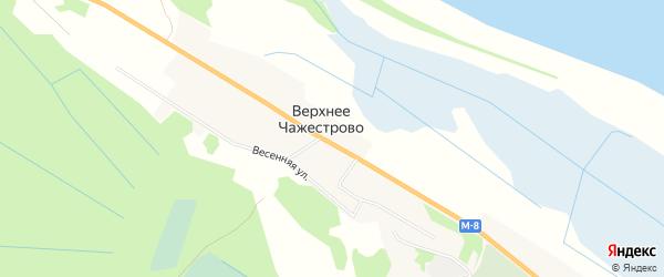 Карта деревни Верхнее Чажестрово в Архангельской области с улицами и номерами домов