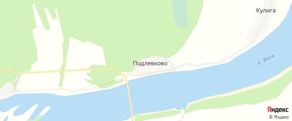 Карта деревни Подлевково в Архангельской области с улицами и номерами домов