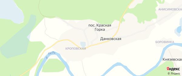 Карта Данковской деревни в Архангельской области с улицами и номерами домов