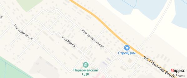 Комсомольская улица на карте поселка Березника с номерами домов