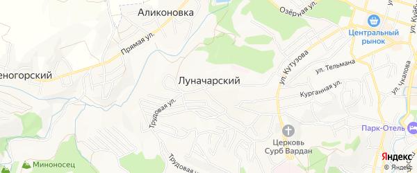 Карта Луначарского поселка города Кисловодска в Ставропольском крае с улицами и номерами домов