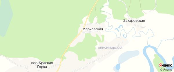 Карта Марковской деревни в Архангельской области с улицами и номерами домов