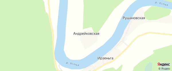 Карта Андрейковской деревни в Архангельской области с улицами и номерами домов