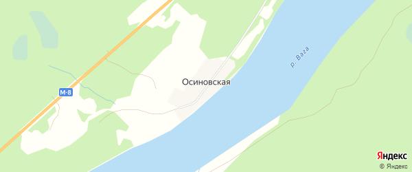 Карта Осиновской деревни в Архангельской области с улицами и номерами домов