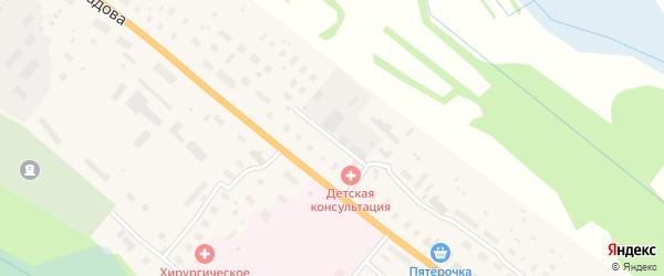 Дорожный переулок на карте поселка Березника с номерами домов