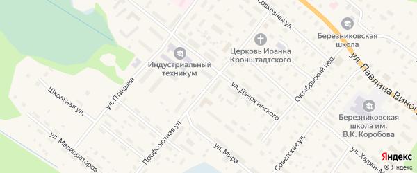 Профсоюзная улица на карте поселка Березника с номерами домов