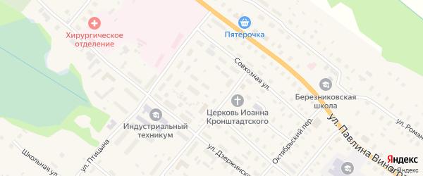 Улица Магистральная - 1 на карте поселка Березника с номерами домов