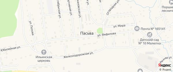 Юбилейная улица на карте поселка Пасьвы с номерами домов