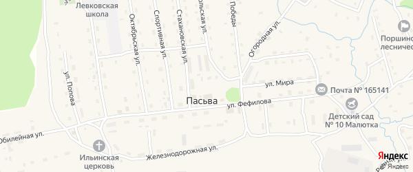 Лесная улица на карте поселка Пасьвы с номерами домов