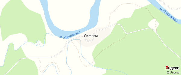 Карта деревни Ужмино в Архангельской области с улицами и номерами домов