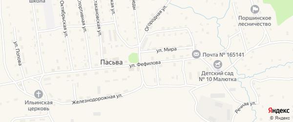Огородная улица на карте поселка Пасьвы с номерами домов