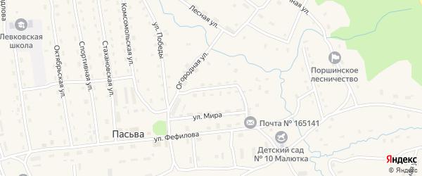 Улица Механизаторов на карте поселка Пасьвы с номерами домов
