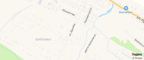 Улица Дружбы на карте поселка Березника с номерами домов