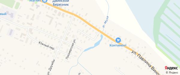 Восточный переулок на карте поселка Березника с номерами домов