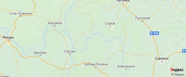 Карта Теньгушевского района республики Мордовия с населенными пунктами и городами