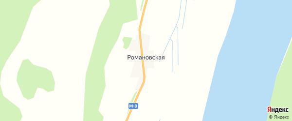 Карта Романовской деревни в Архангельской области с улицами и номерами домов