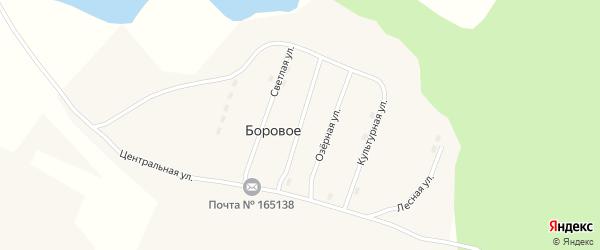 Строительная улица на карте поселка Борового с номерами домов