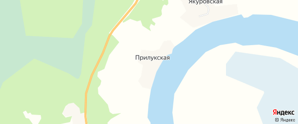 Карта Прилукской деревни в Архангельской области с улицами и номерами домов