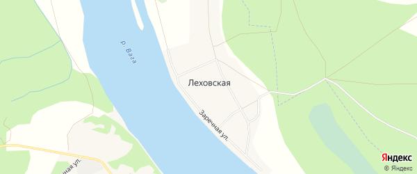 Карта Леховской деревни в Архангельской области с улицами и номерами домов