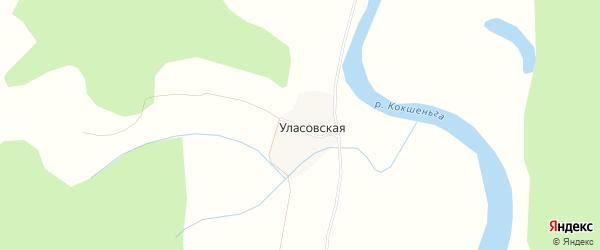 Карта Уласовской деревни в Архангельской области с улицами и номерами домов