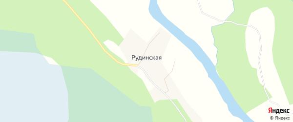 Карта Рудинской деревни в Архангельской области с улицами и номерами домов