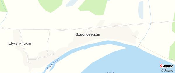 Карта Водопоевской деревни в Архангельской области с улицами и номерами домов
