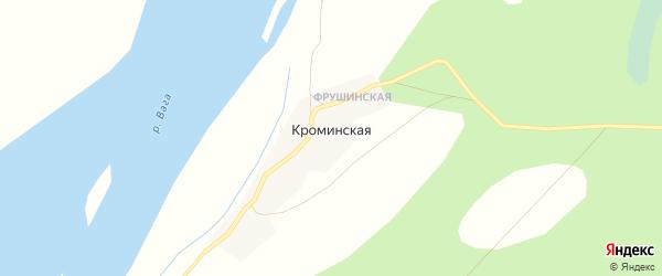 Карта Кроминской деревни в Архангельской области с улицами и номерами домов