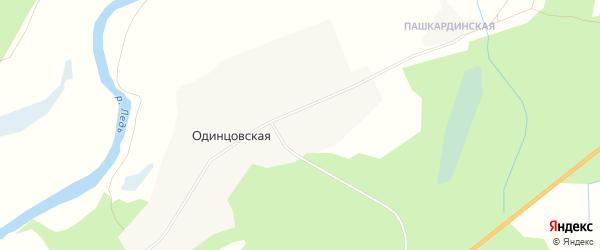 Карта Одинцовской деревни в Архангельской области с улицами и номерами домов
