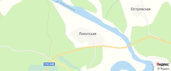 Карта Локотской деревни в Архангельской области с улицами и номерами домов