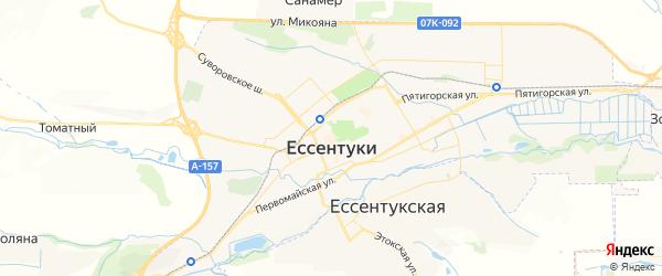 Карта Ессентуков с районами, улицами и номерами домов