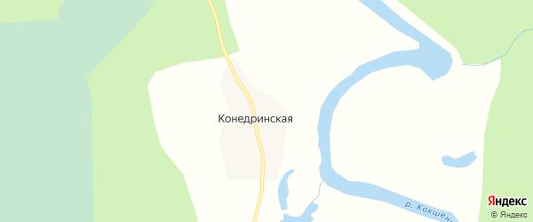 Карта Конедринской деревни в Архангельской области с улицами и номерами домов