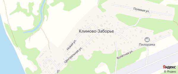Полевая улица на карте деревни Климово-Заборье с номерами домов