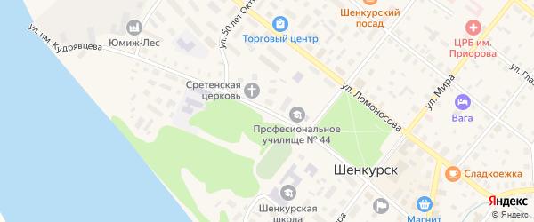 Улица Кудрявцева на карте Шенкурска с номерами домов