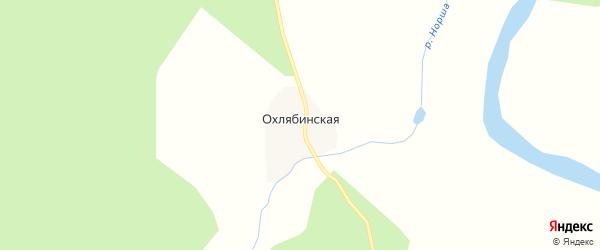 Карта Охлябинской деревни в Архангельской области с улицами и номерами домов