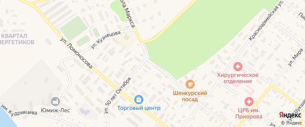 Улица К.Маркса на карте Шенкурска с номерами домов