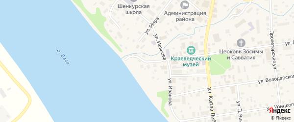 Набережная улица на карте Шелашского поселка с номерами домов