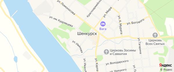 Территория Промышленная зона города 8 на карте Шенкурска с номерами домов