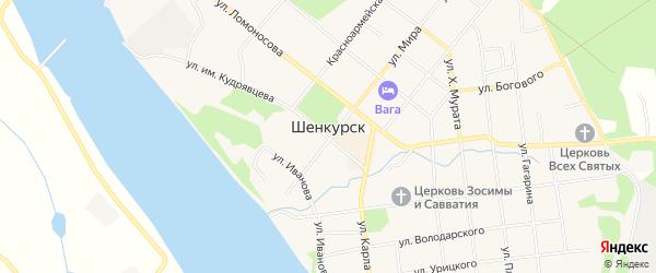 Территория Промышленная зона города 10 на карте Шенкурска с номерами домов