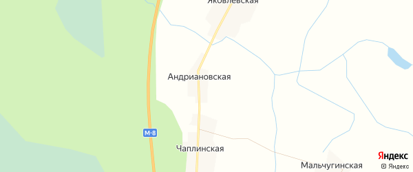 Карта Андриановской деревни в Архангельской области с улицами и номерами домов