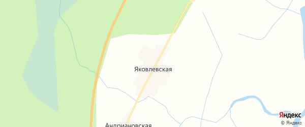 Карта Яковлевской деревни в Архангельской области с улицами и номерами домов
