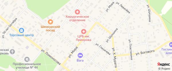 Улица П.Глазачева на карте Шенкурска с номерами домов