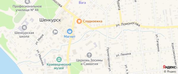 Улица Детгородок на карте Шенкурска с номерами домов